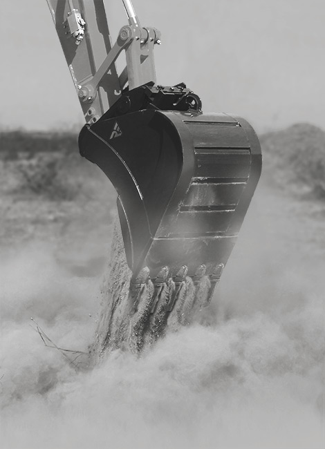 excavator bucket at work